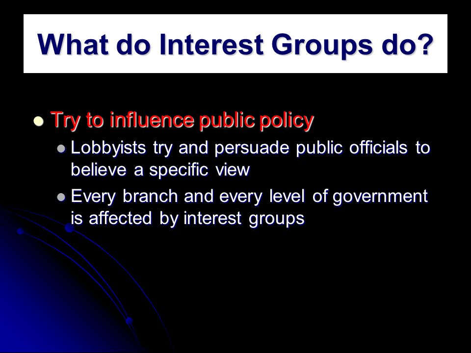 what do interest groups do