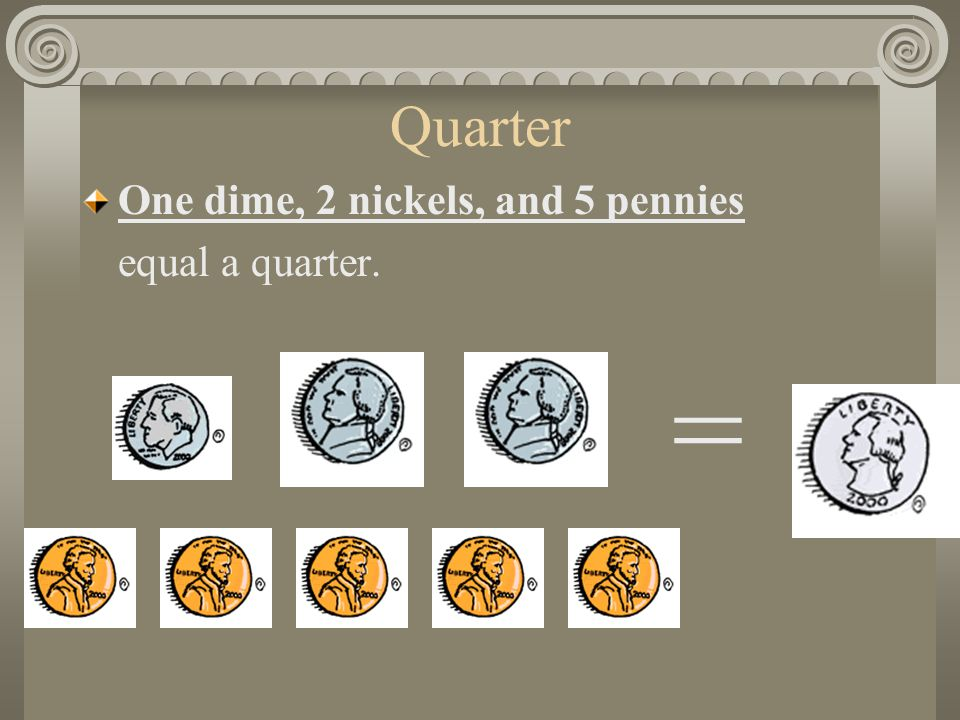 Quarter One dime, 2 nickels, and 5 pennies equal a quarter. =