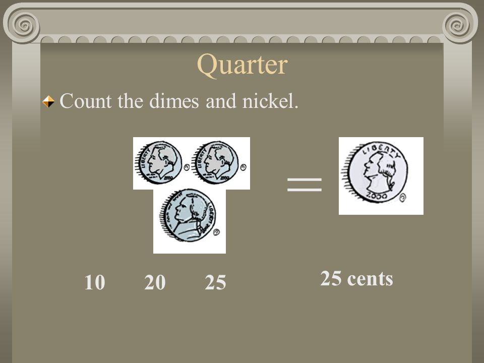 Quarter Count the dimes and nickel = 25 cents