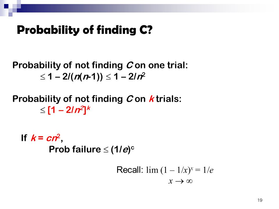 Probability of finding C.
