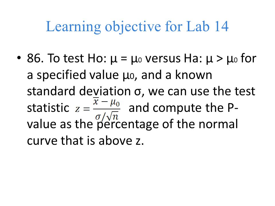 Learning objective for Lab