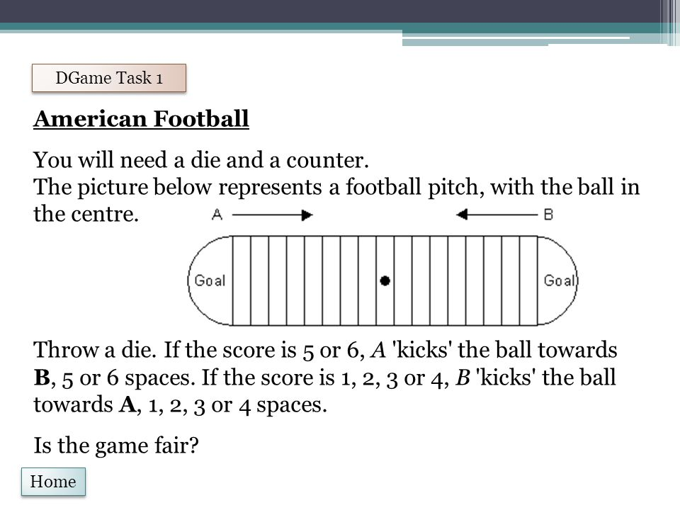 Home DGame Task 1 American Football You will need a die and a counter.