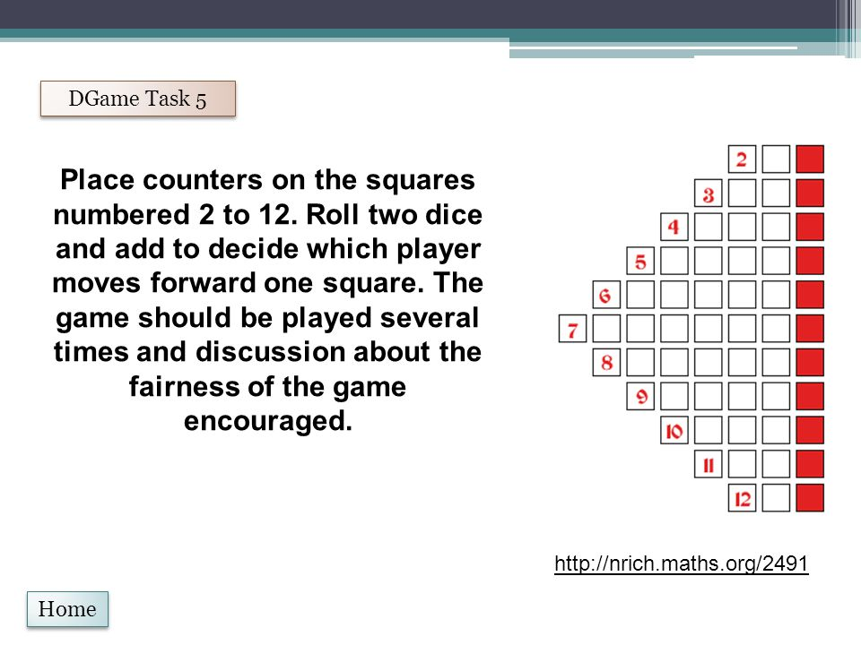 Home DGame Task 5 Place counters on the squares numbered 2 to 12.
