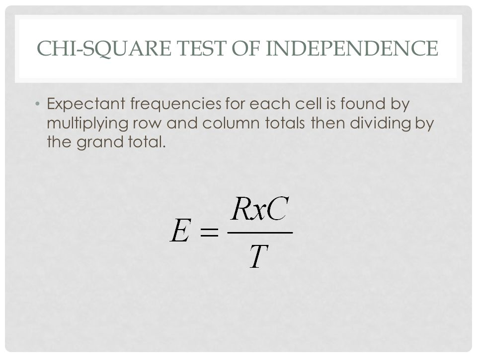 CHI-SQUARE TEST OF INDEPENDENCE Expectant frequencies for each cell is found by multiplying row and column totals then dividing by the grand total.