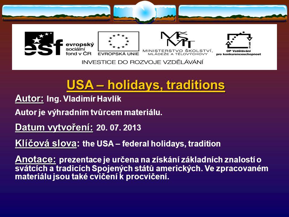 usa holidays traditions autor autor ing vladimír havlík autor