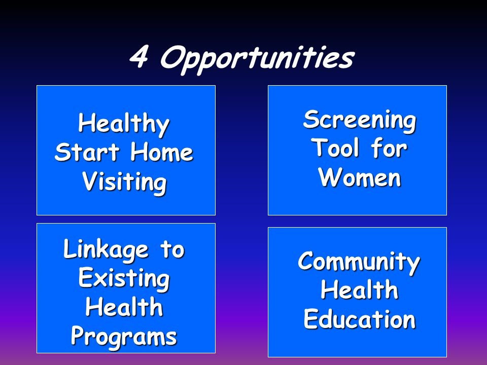 4 Opportunities Healthy Start Home Visiting Screening Tool for Women Linkage to Existing Health Programs Community Health Education