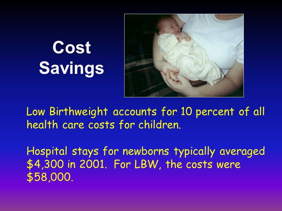 Low Birthweight accounts for 10 percent of all health care costs for children.