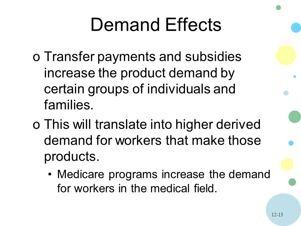 12-13 Demand Effects oTransfer payments and subsidies increase the product demand by certain groups of individuals and families.