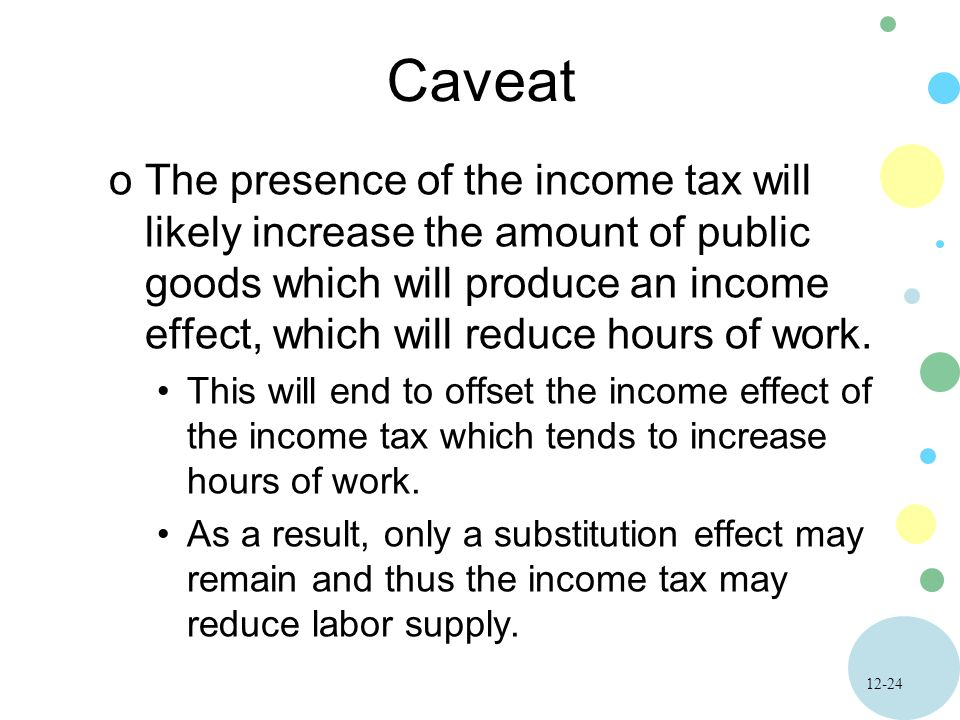 12-24 Caveat oThe presence of the income tax will likely increase the amount of public goods which will produce an income effect, which will reduce hours of work.