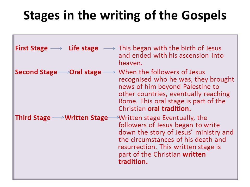 Stages in the writing of the Gospels First Stage Life stage This began with the birth of Jesus and ended with his ascension into heaven.