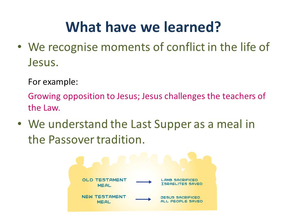What have we learned. We recognise moments of conflict in the life of Jesus.