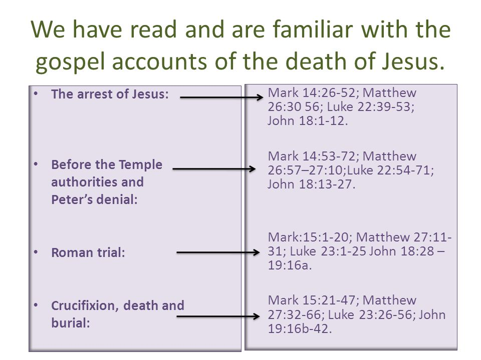 We have read and are familiar with the gospel accounts of the death of Jesus.