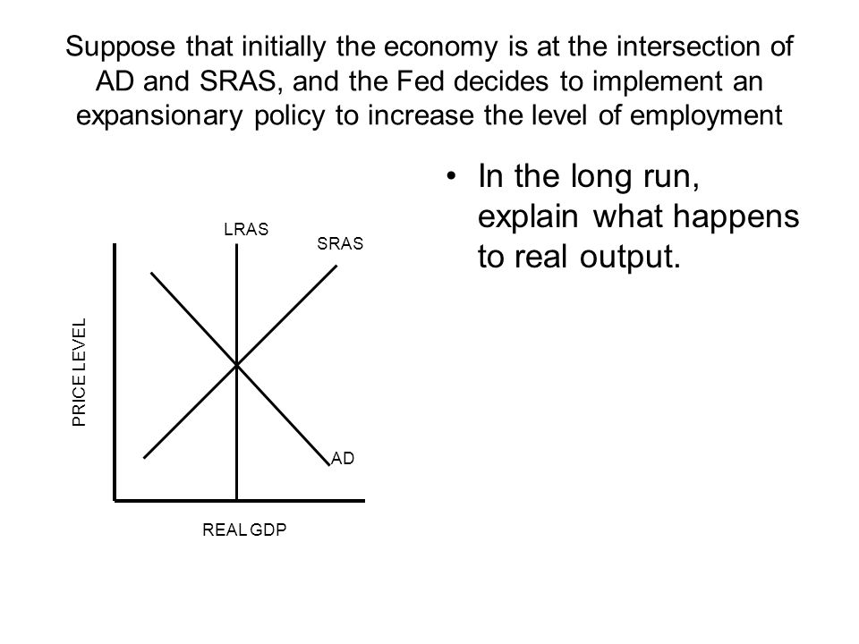 Suppose that initially the economy is at the intersection of AD and SRAS, and the Fed decides to implement an expansionary policy to increase the level of employment In the long run, explain what happens to real output.