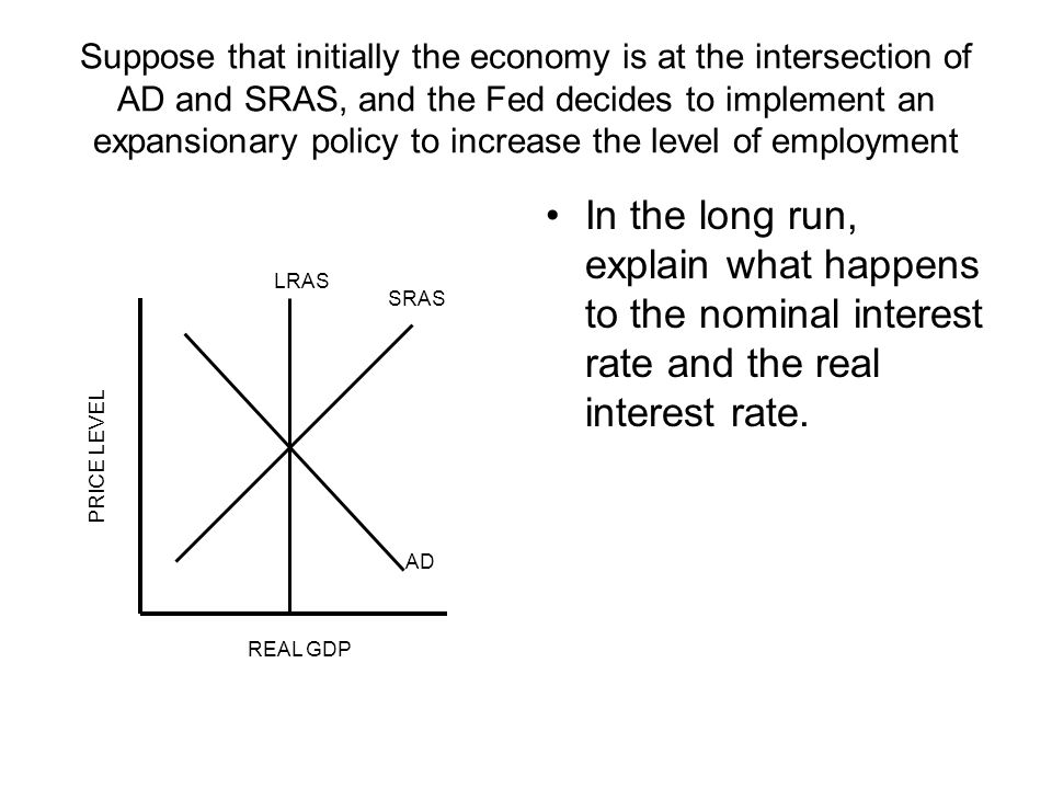 Suppose that initially the economy is at the intersection of AD and SRAS, and the Fed decides to implement an expansionary policy to increase the level of employment In the long run, explain what happens to the nominal interest rate and the real interest rate.