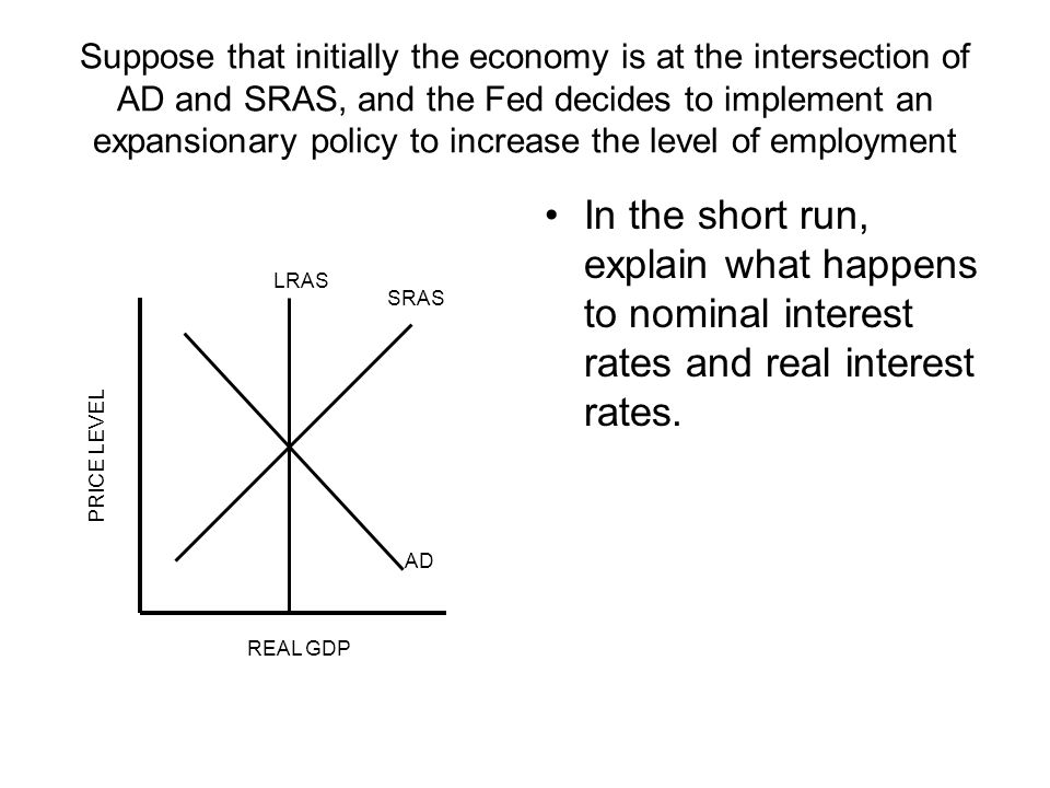 Suppose that initially the economy is at the intersection of AD and SRAS, and the Fed decides to implement an expansionary policy to increase the level of employment In the short run, explain what happens to nominal interest rates and real interest rates.