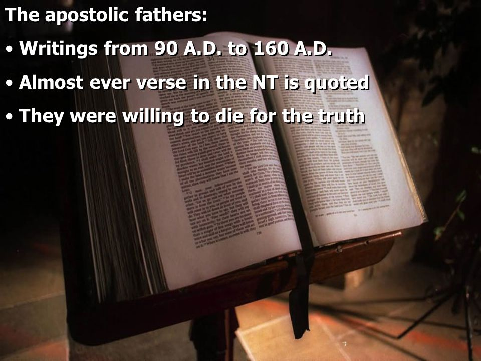 The apostolic fathers: Writings from 90 A.D. to 160 A.D.
