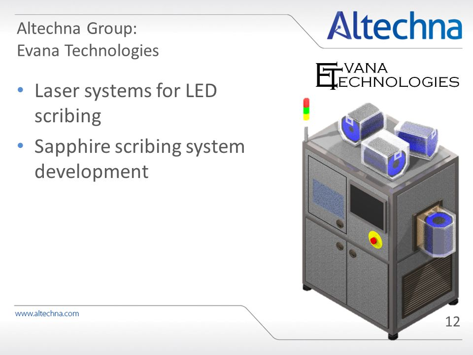 Altechna Group: Evana Technologies Laser systems for LED scribing Sapphire scribing system development 12