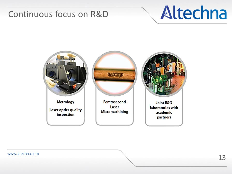 Continuous focus on R&D 13