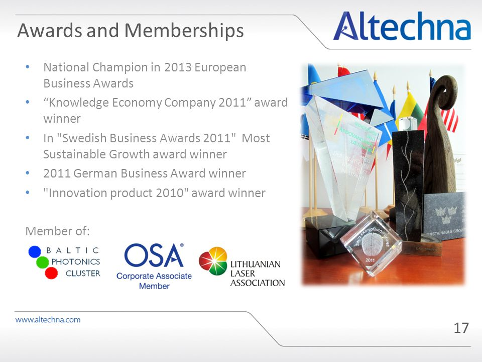17 National Champion in 2013 European Business Awards Knowledge Economy Company 2011 award winner In Swedish Business Awards 2011 Most Sustainable Growth award winner 2011 German Business Award winner Innovation product 2010 award winner Member of: Awards and Memberships