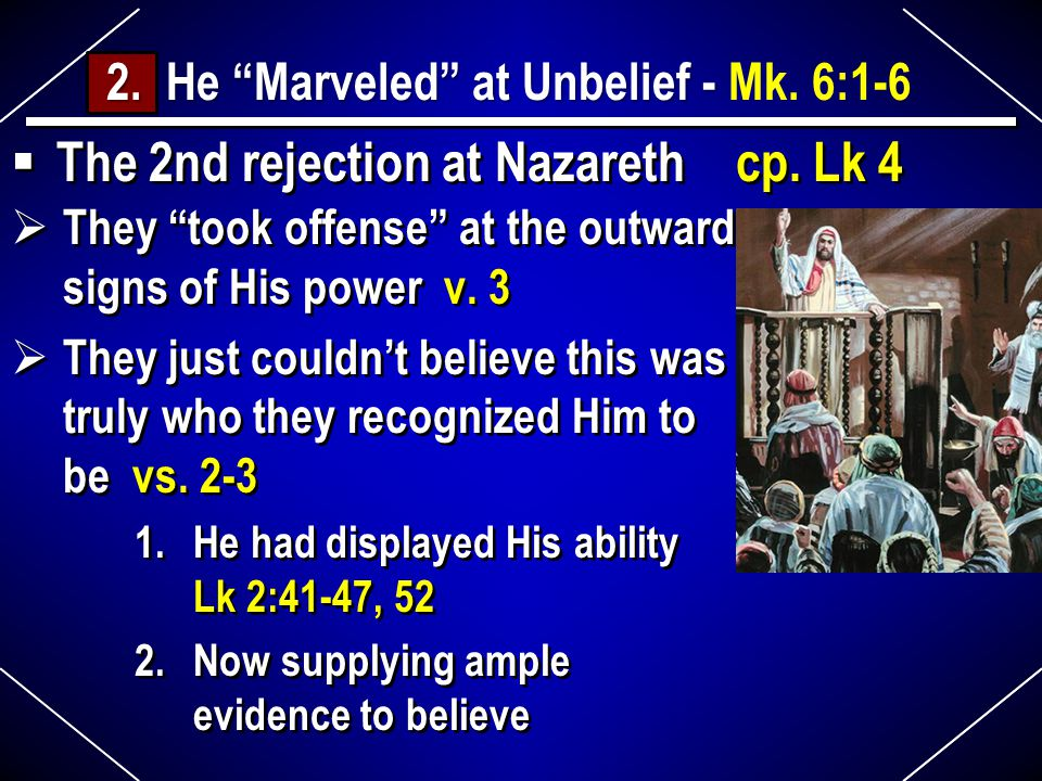  The 2nd rejection at Nazareth cp. Lk 4 2. He Marveled at Unbelief - 2.