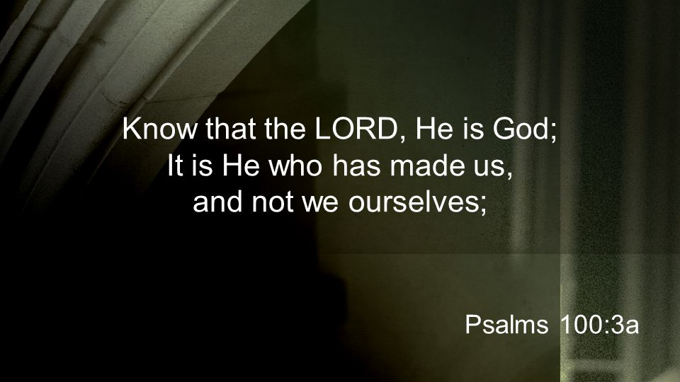 Know that the LORD, He is God; It is He who has made us, and not we ourselves; Psalms 100:3a
