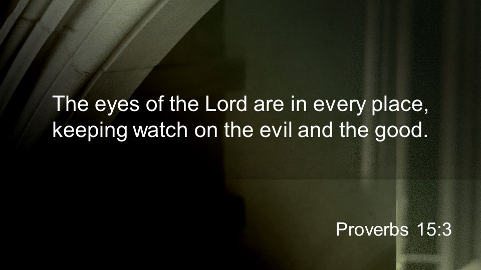 The eyes of the Lord are in every place, keeping watch on the evil and the good. Proverbs 15:3