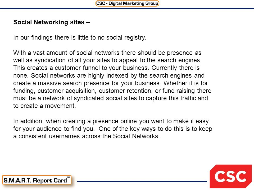 Social Networking sites – In our findings there is little to no social registry.