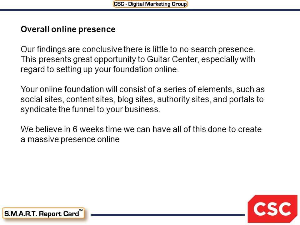 Overall online presence Our findings are conclusive there is little to no search presence.