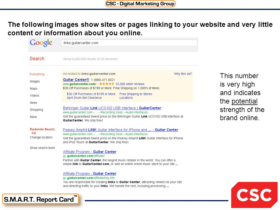 The following images show sites or pages linking to your website and very little content or information about you online.
