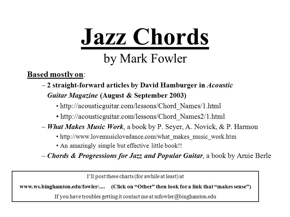 Jazz Chords By Mark Fowler Based Mostly On 2 Straight Forward