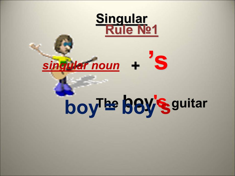 Singular The boy s guitar singular noun + 's's's's boy = boy s Rule №1