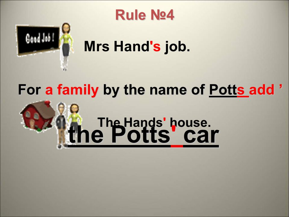 Mrs Hand s job. The Hands house. For a family by the name of Potts add ' Rule №4 the Potts car