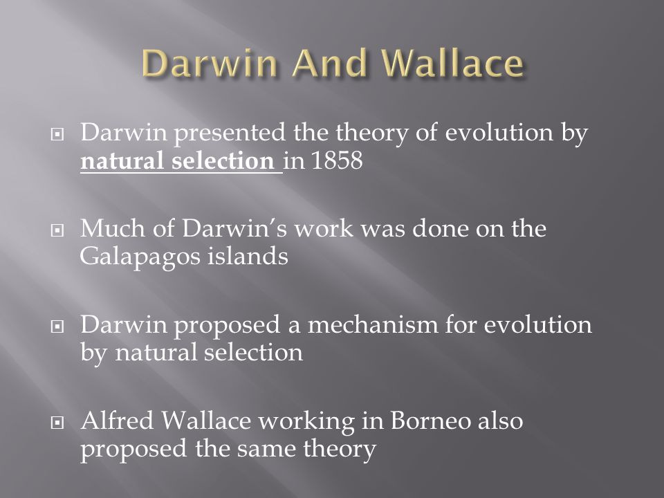 theory of natural selection The theory of evolution by natural selection, first formulated in darwin's book on the origin of species in 1859, is the process by which organisms change over time as a result of changes in.