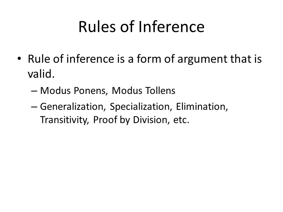 Rules of Inference Rule of inference is a form of argument that is valid.