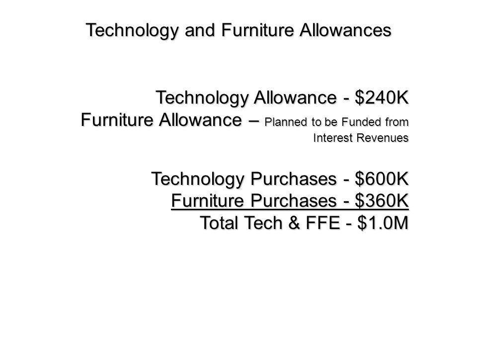 Technology and Furniture Allowances Technology Allowance - $240K Furniture Allowance – Planned to be Funded from Interest Revenues Technology Purchases - $600K Furniture Purchases - $360K Total Tech & FFE - $1.0M