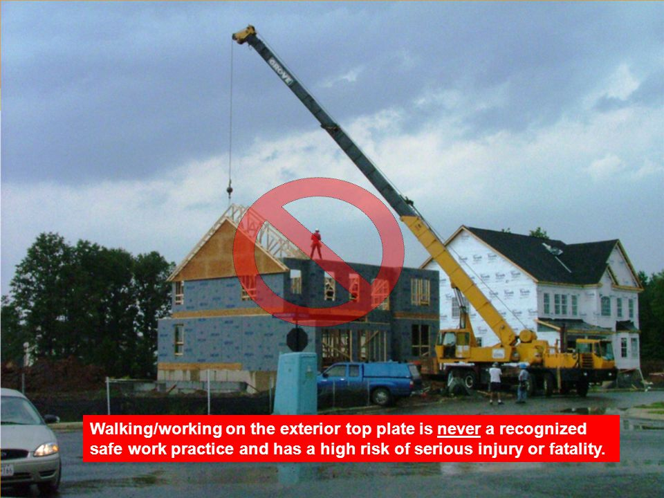 Rev: Walking/working on the exterior top plate is never a recognized safe work practice and has a high risk of serious injury or fatality.