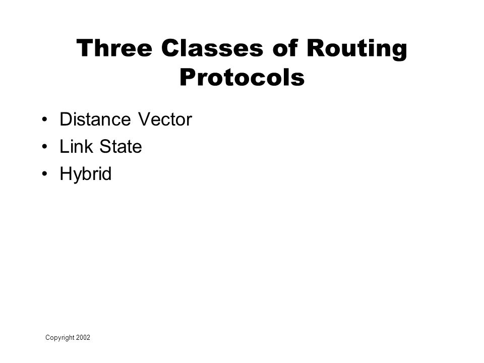 Copyright 2002 Three Classes of Routing Protocols Distance Vector Link State Hybrid