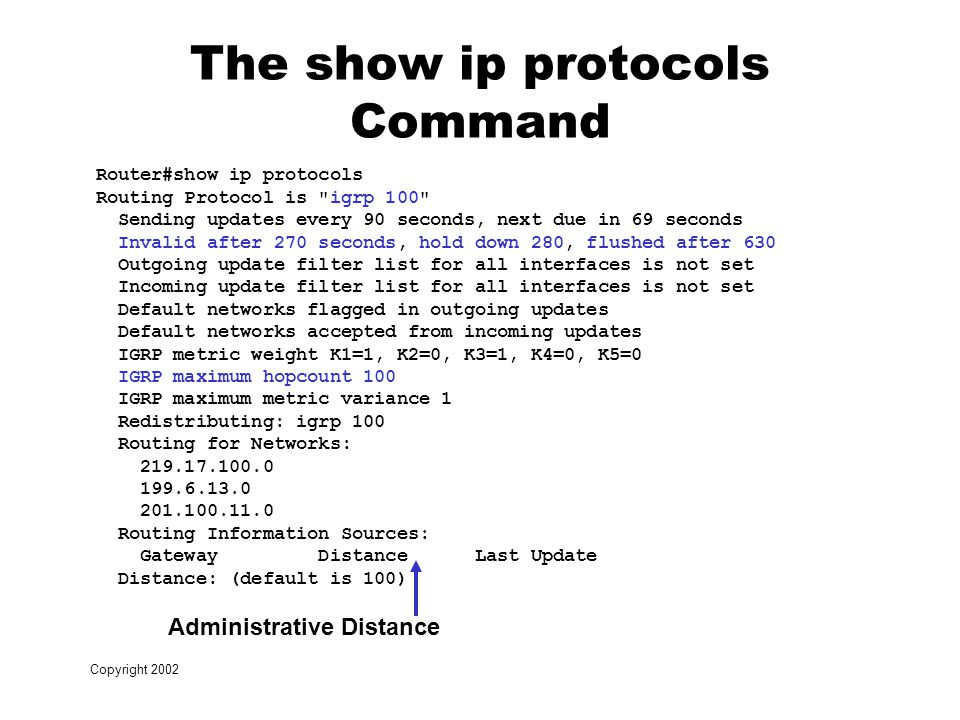 Copyright 2002 The show ip protocols Command Router#show ip protocols Routing Protocol is igrp 100 Sending updates every 90 seconds, next due in 69 seconds Invalid after 270 seconds, hold down 280, flushed after 630 Outgoing update filter list for all interfaces is not set Incoming update filter list for all interfaces is not set Default networks flagged in outgoing updates Default networks accepted from incoming updates IGRP metric weight K1=1, K2=0, K3=1, K4=0, K5=0 IGRP maximum hopcount 100 IGRP maximum metric variance 1 Redistributing: igrp 100 Routing for Networks: Routing Information Sources: Gateway Distance Last Update Distance: (default is 100) Administrative Distance