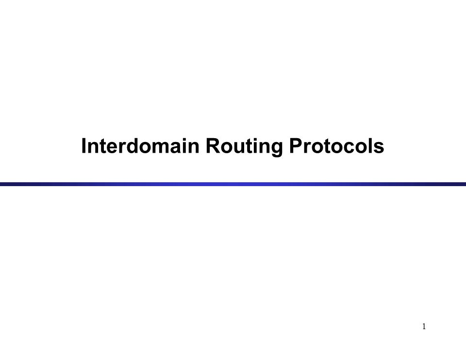 1 Interdomain Routing Protocols