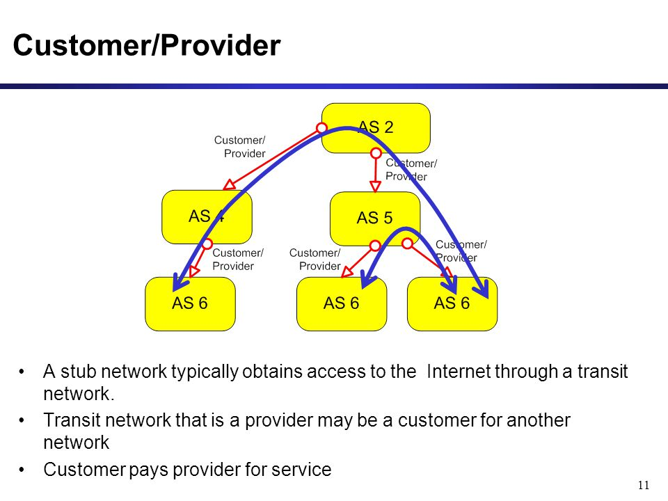 11 Customer/Provider A stub network typically obtains access to the Internet through a transit network.