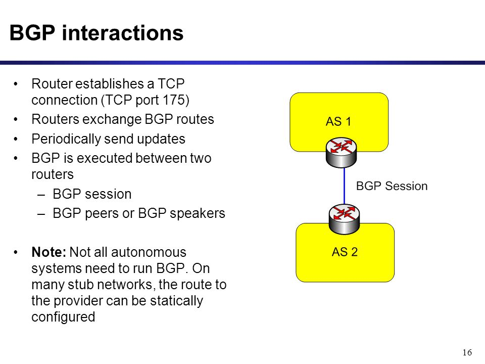 16 BGP interactions Router establishes a TCP connection (TCP port 175) Routers exchange BGP routes Periodically send updates BGP is executed between two routers –BGP session –BGP peers or BGP speakers Note: Not all autonomous systems need to run BGP.