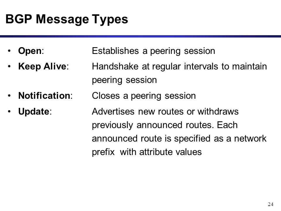 24 BGP Message Types Open: Establishes a peering session Keep Alive: Handshake at regular intervals to maintain peering session Notification: Closes a peering session Update: Advertises new routes or withdraws previously announced routes.