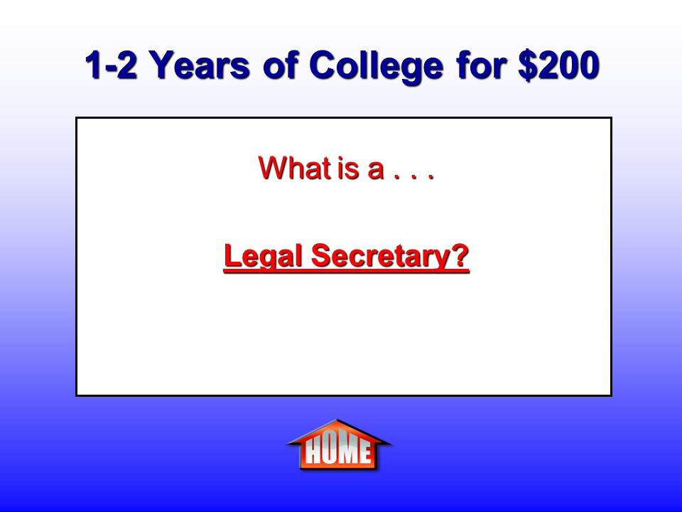 1-2 Years of College for $200 Clue: A person who prepares legal documents and correspondences such as summonses, complaints, motions, and subpoenas.