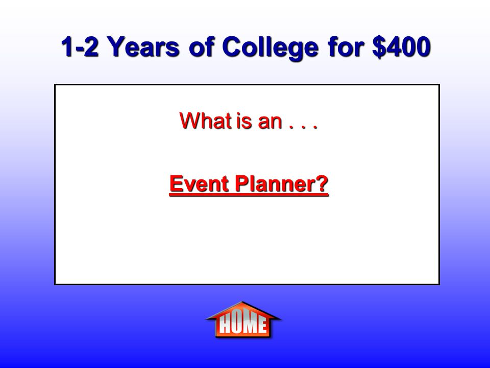 1-2 Years of College for $400 Clue: A person who coordinates and plans all the components of an event.