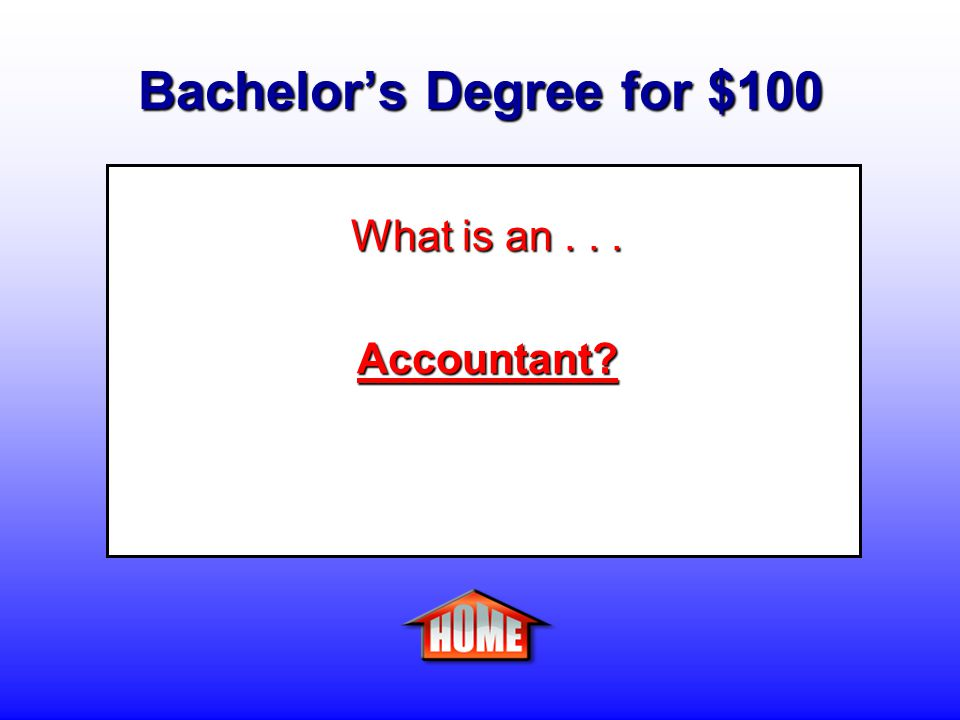 Bachelor's Degree for $100 Clue: A person who tracks and assesses the financial status of people and companies.