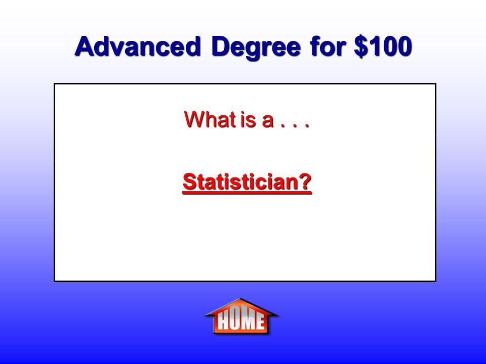 Advanced Degree for $100 Clue: A person who plans surveys and collects, organizes, and analyzes numerical data using statistical theories and methods to provide information in scientific, business, economic, and other fields.