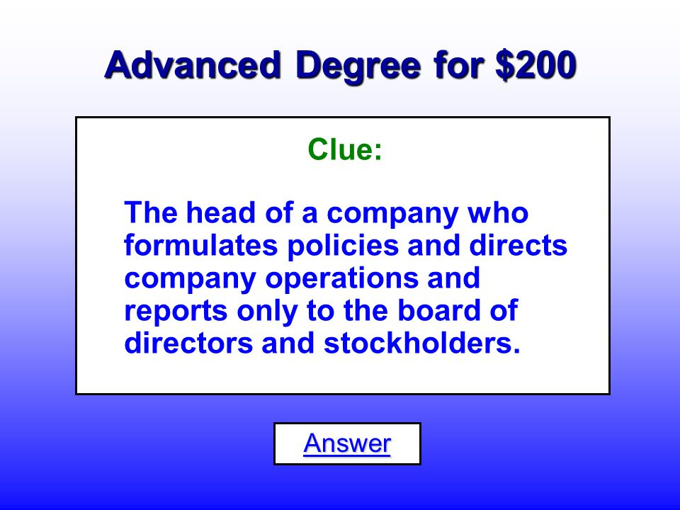 Advanced Degree for $100 What is a... Statistician