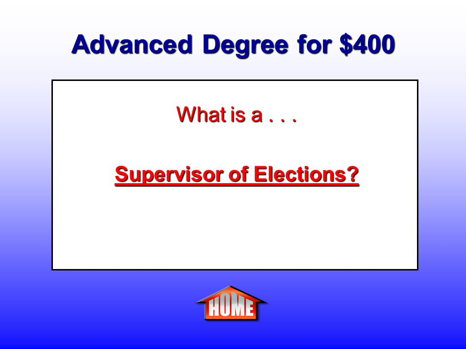Advanced Degree for $400 Clue: A person who oversees the electoral process in the county or state.