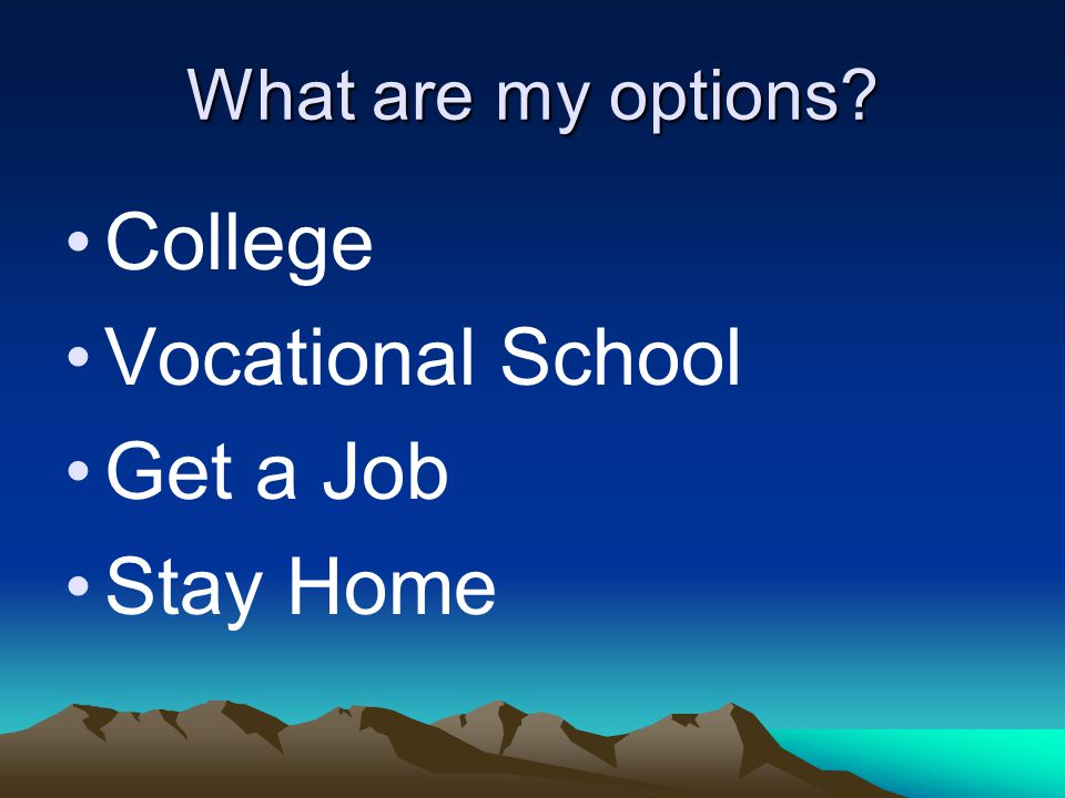 What are my options College Vocational School Get a Job Stay Home