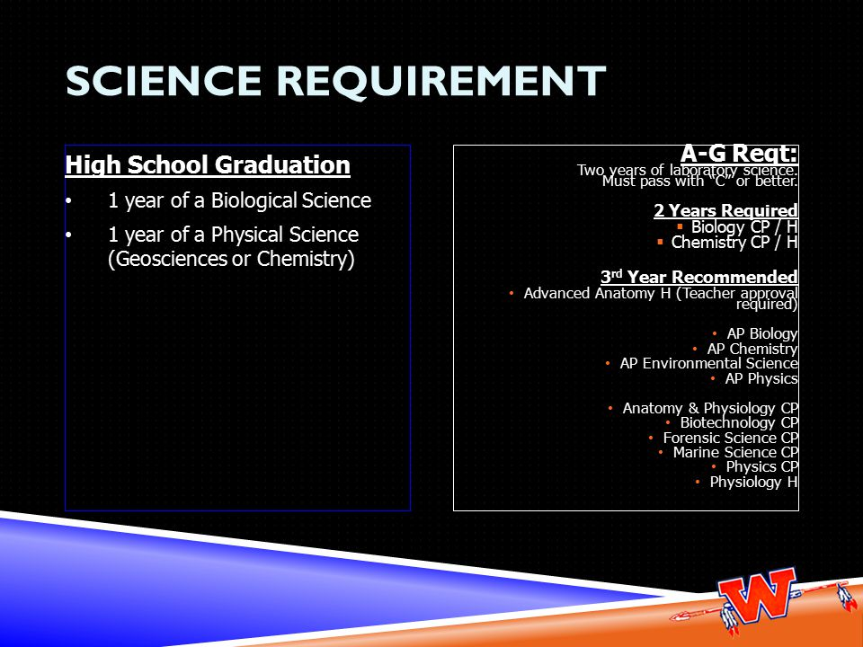 SCIENCE REQUIREMENT High School Graduation 1 year of a Biological Science 1 year of a Physical Science (Geosciences or Chemistry) A-G Reqt: Two years of laboratory science.